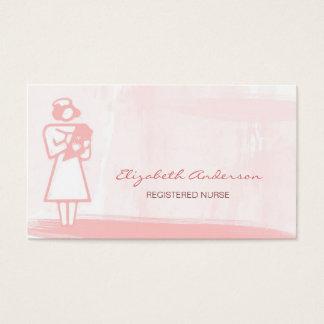 Soins de santé roses Girly d'aquarelle d'infirmier Cartes De Visite
