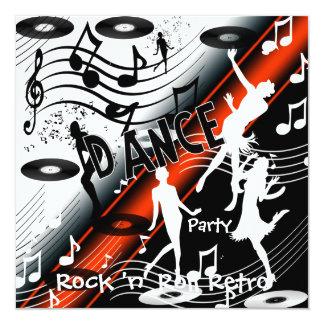 Soirée dansante de rock d'invitation rétro carton d'invitation  13,33 cm