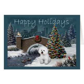 Soirée de carte de Noël de Bichon Frise