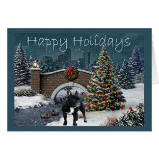 Soirée de carte de Noël de bouledogue français
