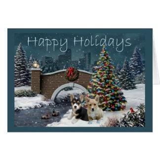 Soirée de carte de Noël de corgi de Gallois de