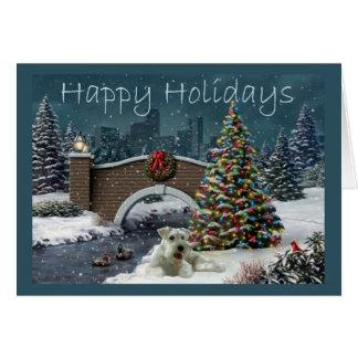 Soirée de carte de Noël de Schnauzer miniature