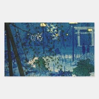 Soirée japonaise vintage dans le bleu autocollant rectangulaire