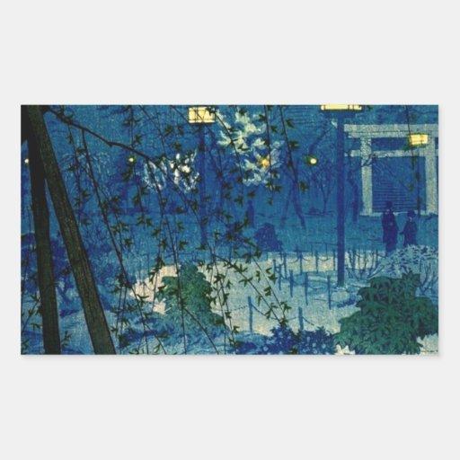Soirée japonaise vintage dans le bleu autocollant