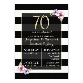 Soixante-dix de la femme et rayure florale carton d'invitation  12,7 cm x 17,78 cm