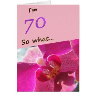 soixante-dixième Anniversaire avec l'orchidée rose Carte De Vœux