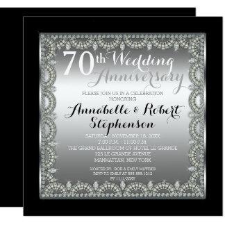 Soixante-dixième argent élégant et anniversaire de carton d'invitation  13,33 cm