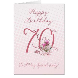 soixante-dixième Carte d'anniversaire - roses