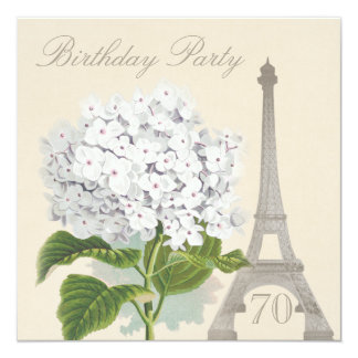 soixante-dixième Fleur blanche vintage d'hortensia Carton D'invitation 13,33 Cm