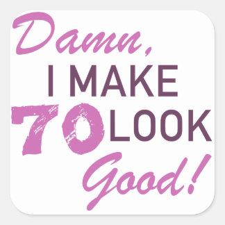 soixante-dixième Humour d'anniversaire Sticker Carré