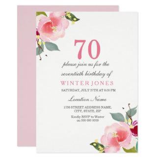 Soixante-dixième invitation florale rose élégante
