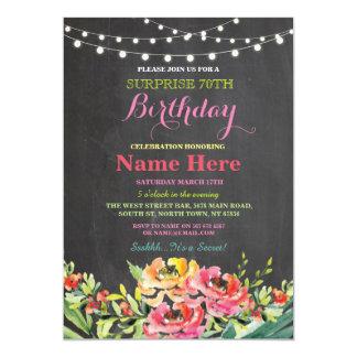 soixante-dixième Invitation rose floral de tableau