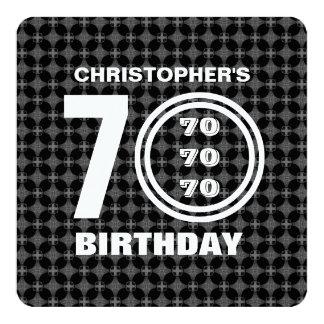 soixante-dixième Motif noir et blanc moderne A02 Carton D'invitation 13,33 Cm