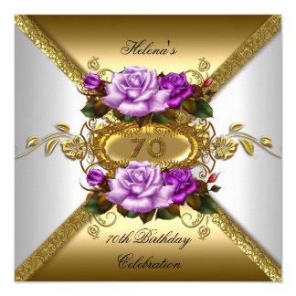 soixante-dixième Or élégant de pourpre de roses de Carton D'invitation 13,33 Cm