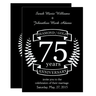 soixante-quinzième OR de DIAMANT d'ANNIVERSAIRE de Carton D'invitation 12,7 Cm X 17,78 Cm