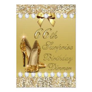 soixante-sixième L'or de dîner d'anniversaire de Carton D'invitation 12,7 Cm X 17,78 Cm