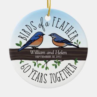 soixantième Anniversaire de mariage, oiseaux bleus Ornement Rond En Céramique