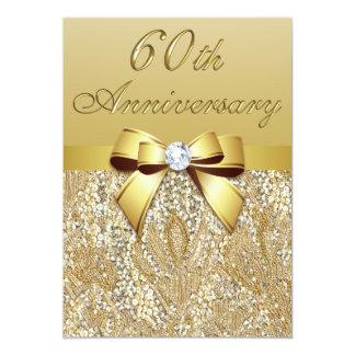 soixantième Arc de paillettes de Faux Carton D'invitation 12,7 Cm X 17,78 Cm