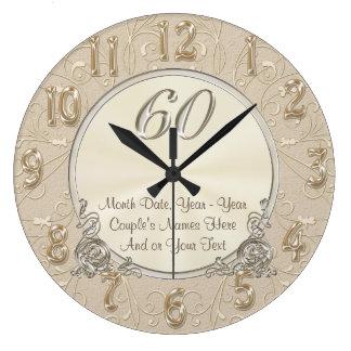 Soixantième cadeaux personnalisés d'anniversaire, grande horloge ronde