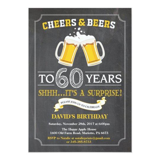 Soixantième carte d'invitation d'anniversaire carton d'invitation  12,7 cm x 17,78 cm