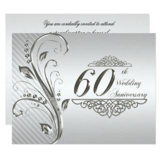 soixantième Carte d'invitation d'anniversaire de Carton D'invitation 10,79 Cm X 13,97 Cm