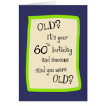 soixantième Humour d'anniversaire Cartes De Vœux