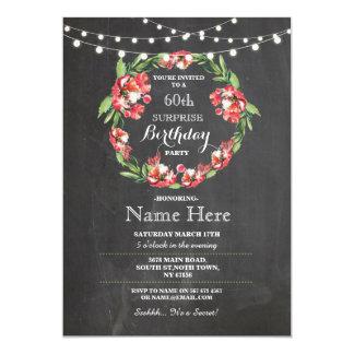 soixantième Invitation floral de guirlande de