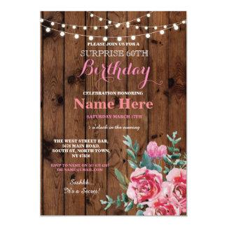 soixantième Invitation rose floral de fleur en