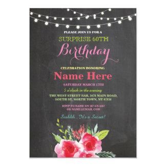 soixantième Invitation rose floral de tableau de