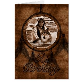 soixantième Loup de Natif américain d'anniversaire Carte De Vœux