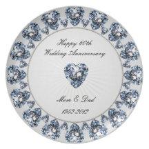 soixantième Plat d'anniversaire de mariage Assiette