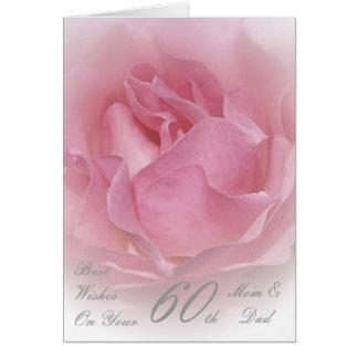 soixantième Rose de rose de maman et de papa Carte De Vœux