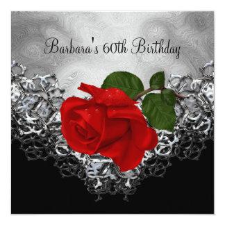 soixantième Rose ROUGE argenté blanc de noir de Carton D'invitation 13,33 Cm