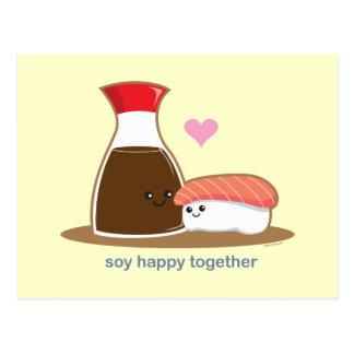 Soja heureux ensemble carte postale