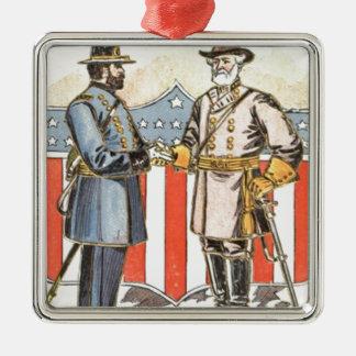 Soldat confédéré des syndicats de bouclier des USA Ornement Carré Argenté