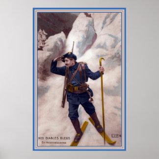 Soldat français de WWI sur des skis dans les diabl Posters
