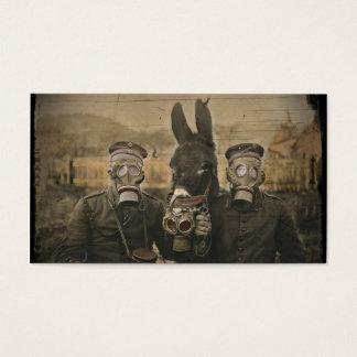 Soldats âne et masques de gaz cartes de visite