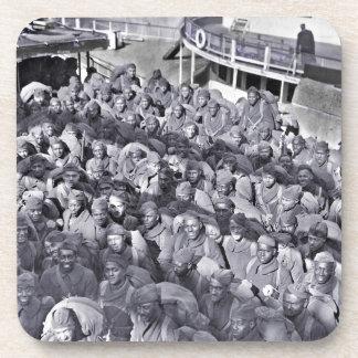 Soldats noirs de WWI sur le bateau de transport Sous-bock