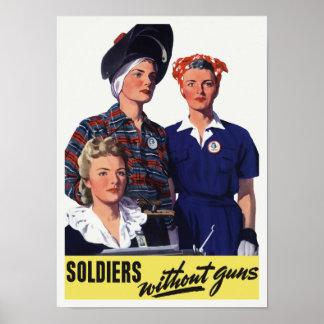 Soldats sans armes à feu - travailleurs de guerre poster