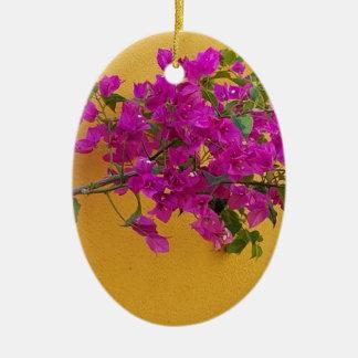 Soleil jaune de voûte de fleur de rose de mur ornement ovale en céramique