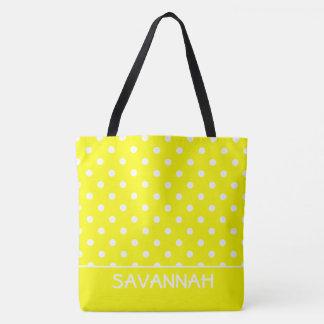Soleil jaune et point de polka blanc personnalisé sac