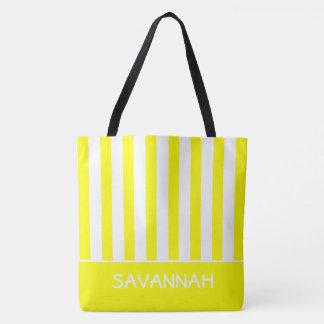 Soleil jaune et rayure blanche personnalisée sac