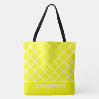 Soleil jaune et trellis blanc personnalisé sac