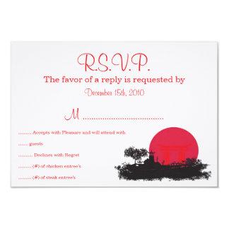 Soleil Levant japonais épousant la carte de RSVP Carton D'invitation 8,89 Cm X 12,70 Cm