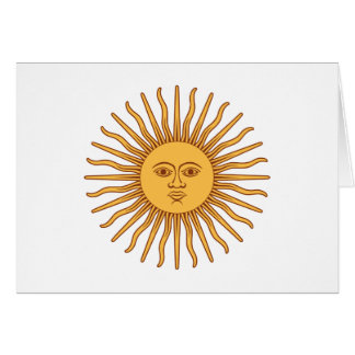 Solénoïde De Mayo Sun de mai - l'or Sun font face Cartes De Vœux