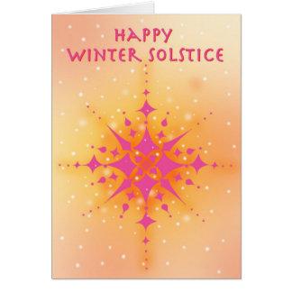 Solstice d'hiver avec le soleil et les flocons de carte de vœux