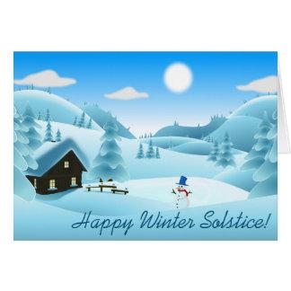 Solstice d'hiver heureux ! Bonhomme de neige Cartes