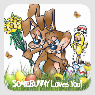 Somebunny vous aime - Pâques Sticker Carré