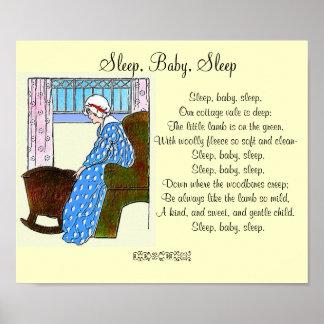 """""""Sommeil, bébé, poster vintage de sommeil"""" Posters"""