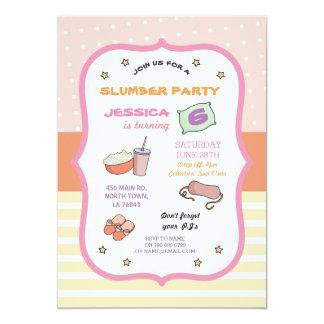 Sommeil d'anniversaire de soirée pyjamas au-dessus carton d'invitation  12,7 cm x 17,78 cm